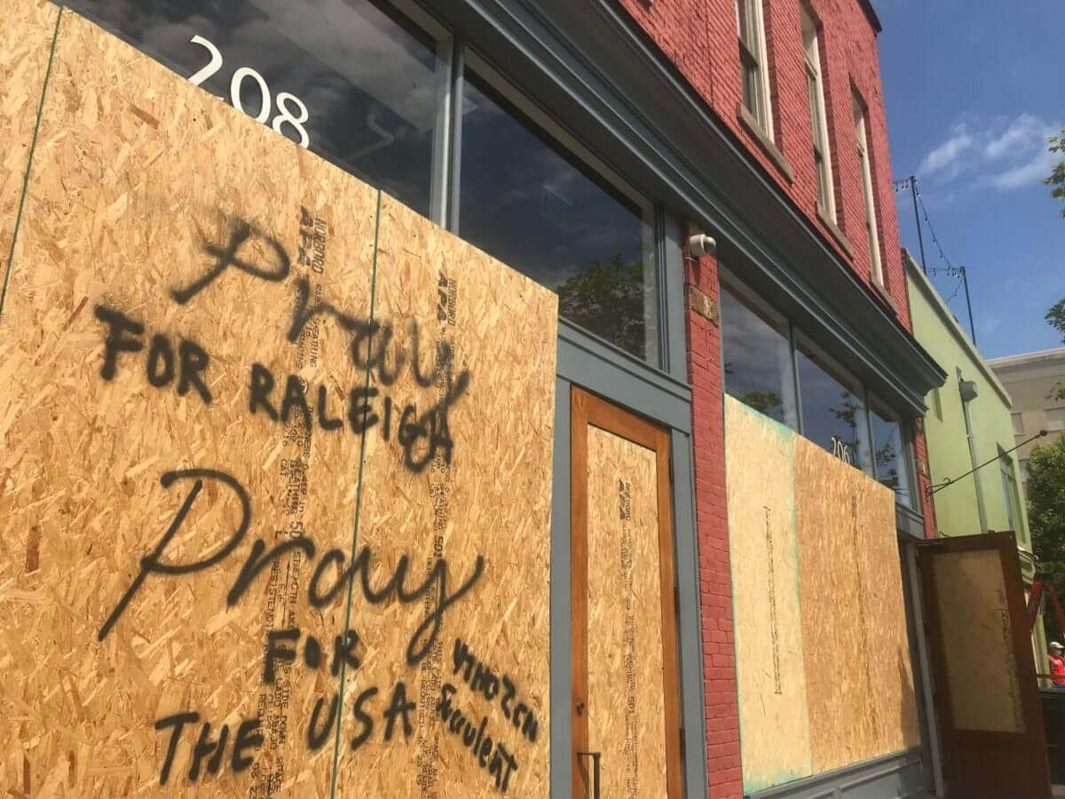 A message for healing in Raleigh the morning after protests over the death of George Floyd sparked unrest and violence. Image by Sarah Ovaska.