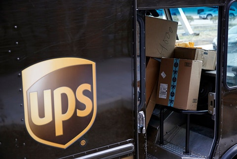 UPS truck showing packages stacked up inside