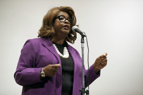 FILE - In this Thursday, March 30, 2017 file photo, Ferguson Councilwoman Ella Jones speaks during a mayoral forum in Ferguson, Mo. (AP Photo/Jeff Roberson, File)