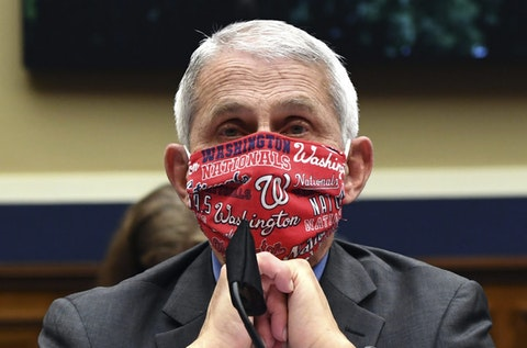 Director of the National Institute of Allergy and Infectious Diseases Dr. Anthony Fauci wears a face mask as he waits to testify before a House Committee on Energy and Commerce on the Trump administration's response to the COVID-19 pandemic on Capitol Hill in Washington on Tuesday, June 23, 2020. (Kevin Dietsch/Pool via AP)
