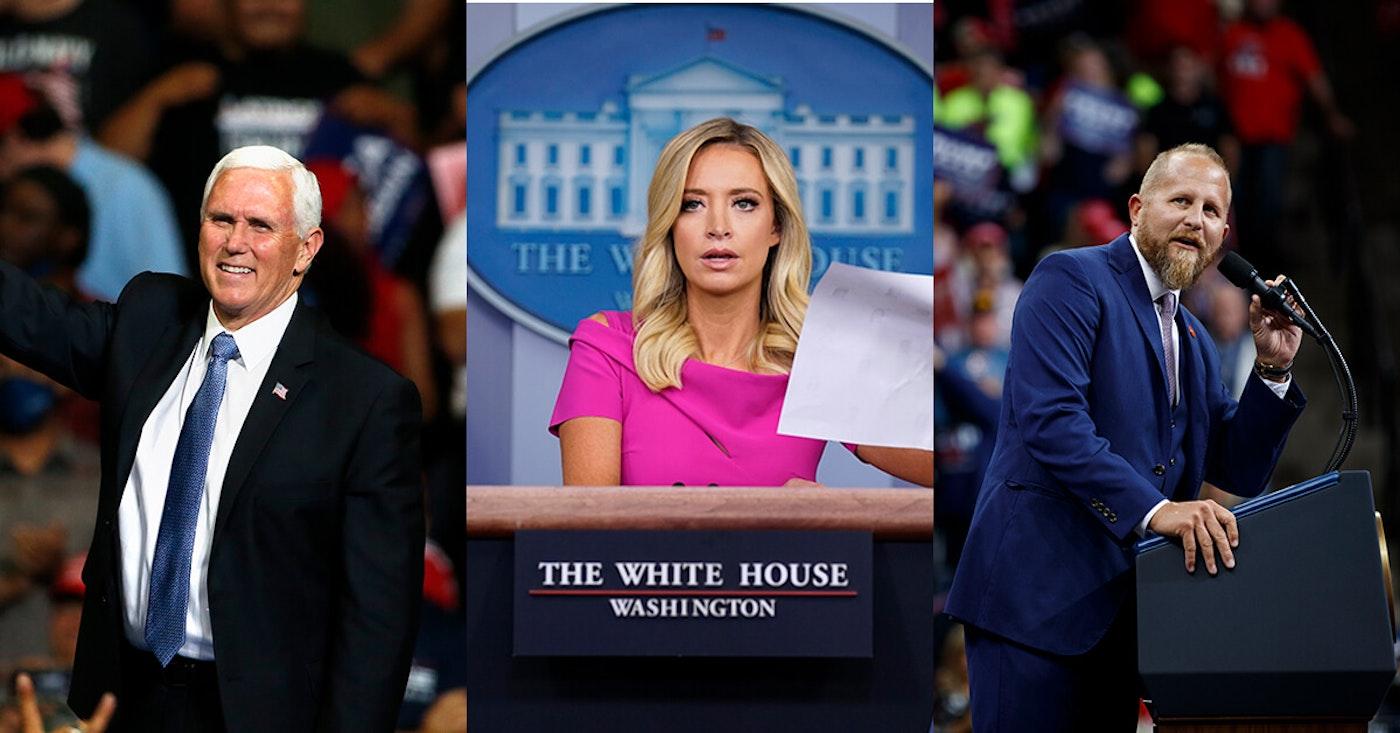 Photo of Pence via AP Photo/Sue Ogrocki; Parscale and Kayleigh McEnany via AP Photo/Evan Vucci