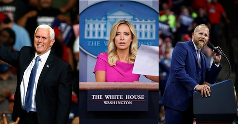 Photo of Pence via AP Photo/Sue Ogrocki; Parscale and Kayleigh McEnany via AP Photo/Evan Vucci