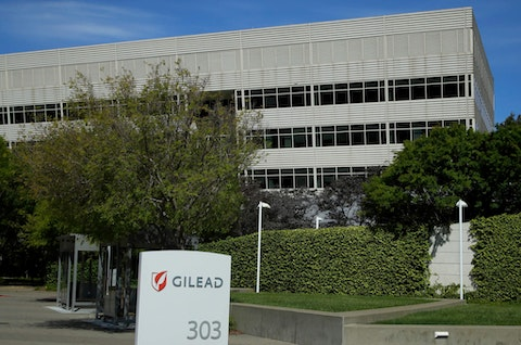 FILE - This is an April 30, 2020, file photo showing Gilead Sciences headquarters in Foster City, Calif. The maker of a drug shown to shorten recovery time for severely ill COVID-19 patients says it will charge $2,340 for a typical treatment course for people covered by government health programs in the United States and other developed countries. Gilead Sciences announced the price Monday, June 29 for remdesivir, and said the price would be $3,120 for patients with private insurance. (AP Photo/Ben Margot, File)