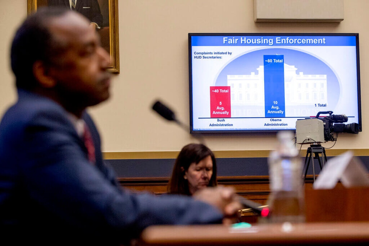 """A graph depicting """"Fair Housing Enforcement Complaints initiated by HUD Secretaries"""" is displayed as Housing and Urban Development Secretary Ben Carson, left, testifies at a House Financial Services Committee oversight hearing on Capitol Hill in 2019.(AP Photo/Andrew Harnik)"""