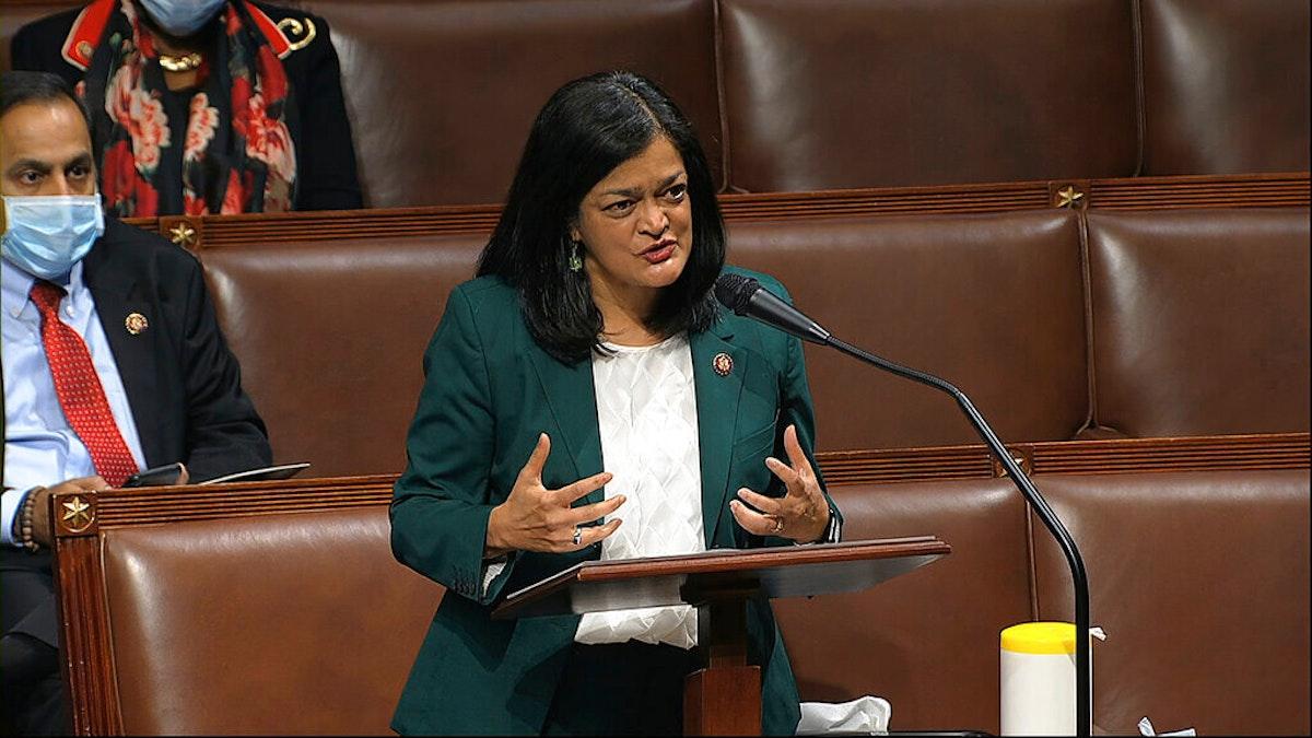 Rep. Pramila Jayapal, D-Wash., speaks on the floor of the House of Representatives at the U.S. Capitol in Washington, Thursday, April 23, 2020. (House Television via AP)