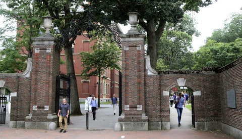 In this Aug. 13, 2019, file photo, pedestrians walk through the gates of Harvard Yard at Harvard University in Cambridge, Mass. Harvard and the Massachusetts Institute of Technology filed a federal lawsuit Wednesday, July 8, 2020, challenging the Trump administration's decision to bar international students from staying in the U.S. if they take classes entirely online this fall. Some institutions, including Harvard, have announced that all instruction will be offered remotely in the fall during the ongoing coronavirus pandemic. (AP Photo/Charles Krupa, File)