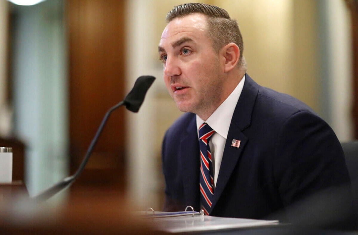 National Guard Maj. Adam DeMarco testifies during a House Natural Resources Committee hearing on actions taken on June 1, 2020 at Lafayette Square, Tuesday, July 28, 2020 on Capitol Hill in Washington.   (Leah Millis/Pool via AP)