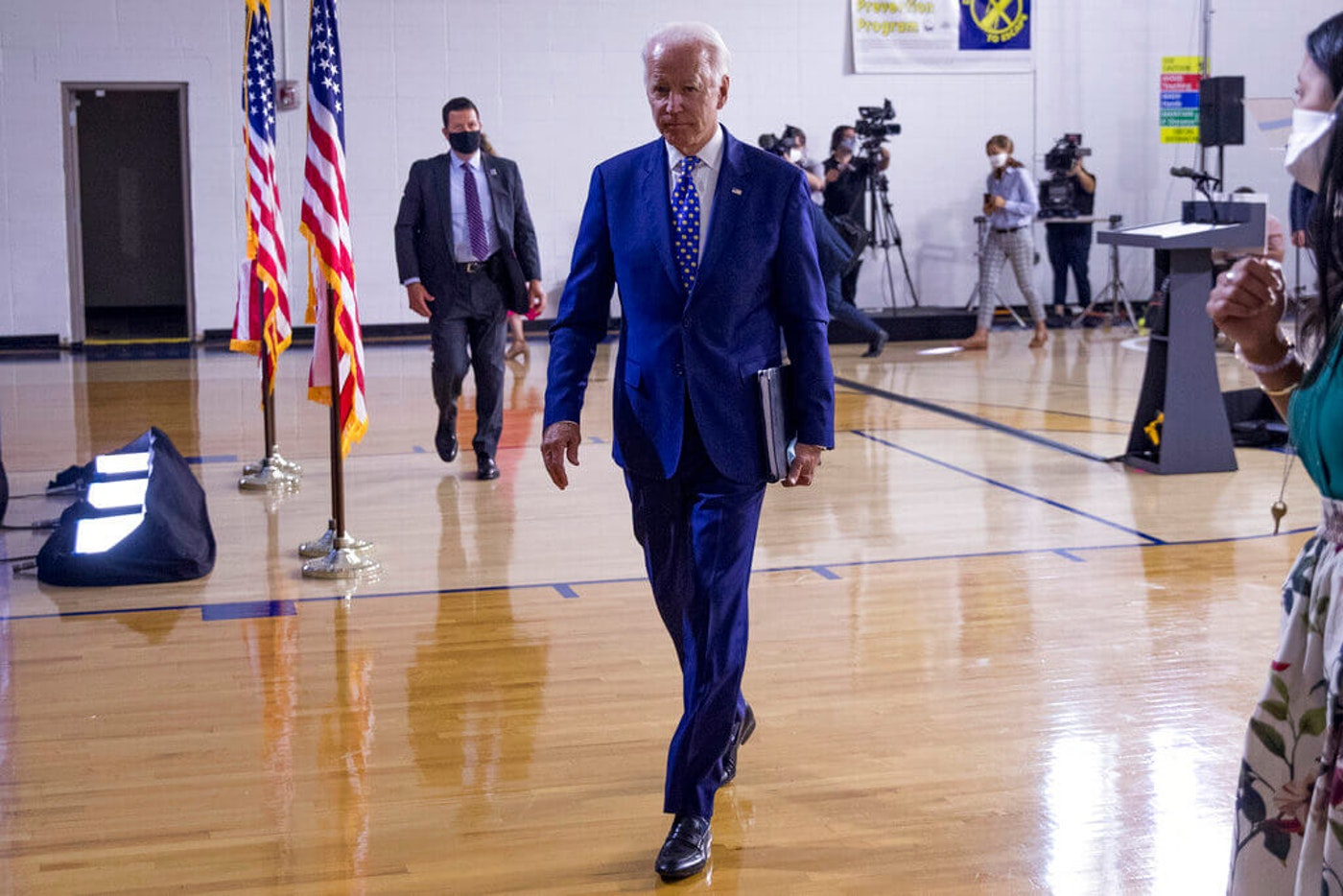 Democratic presidential candidate former Vice President Joe Biden leaves after speaking at a campaign event in Wilmington, Del., Tuesday, July 28, 2020.(AP Photo/Andrew Harnik)