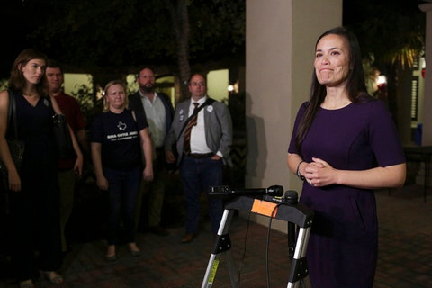 FILE - In this Tuesday, Nov. 6, 2018, file photo, Gina Ortiz Jones speaks to the media after the Bexar County Democratic Party election night watch party at The Herrera Law Firm in San Antonio. Ortiz Jones is among the LGBTQ candidates with a solid chance of winning a congressional seat in November 2020. (Lisa Krantz/The San Antonio Express-News via AP, File)