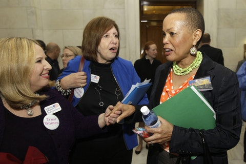 Arkansas state Sen. Joyce Elliot on the right in 2013 (AP Photo/Danny Johnston)