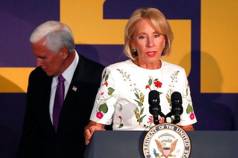 Education Secretary Betsy DeVos speaks at a press conference with Vice President Mike Pence in Tiger Stadium, on the LSU campus, in Baton Rouge, La., Tuesday, July 14, 2020. (AP Photo/Gerald Herbert)