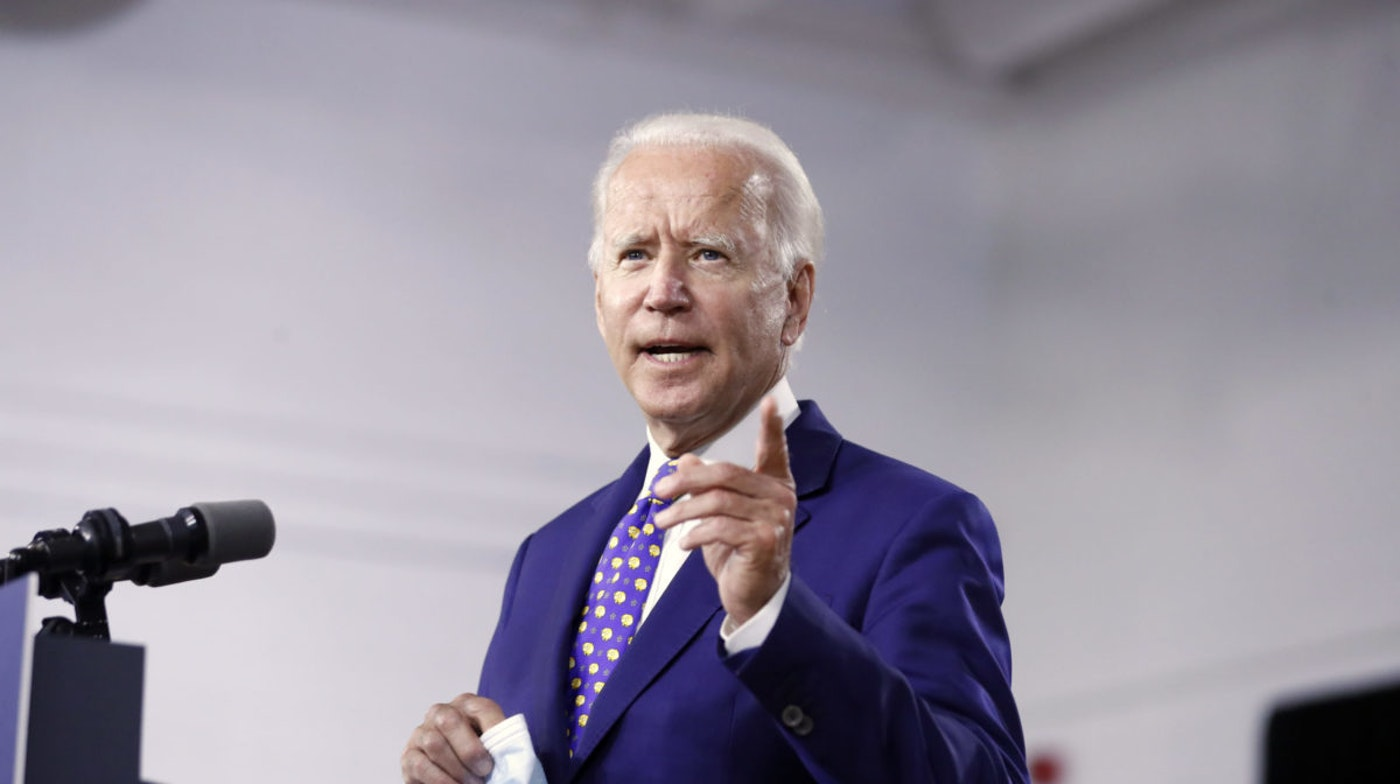 "Democratic presidential candidate Joe Biden speaks at the William ""Hicks"" Anderson Community Center in Wilmington, Del."