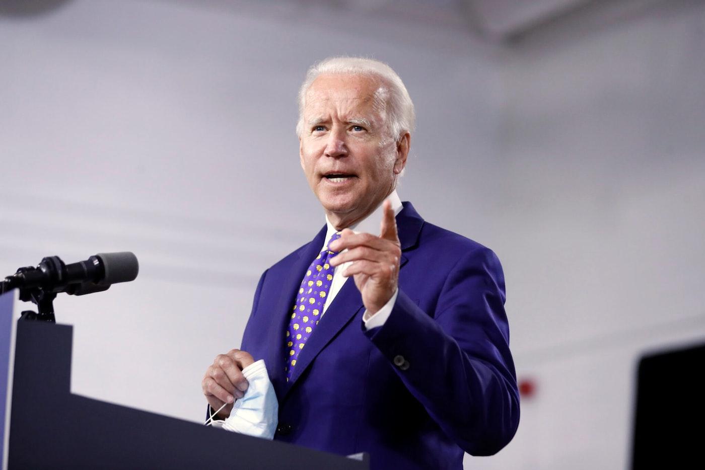 "Democratic presidential candidate Joe Biden speaks at the William ""Hicks"" Anderson Community Center in Wilmington, Del."