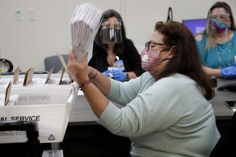 Miami-Dade County Department of Elections employee Elizabeth Prieto gathers vote-by-mail ballots for the August 18 primary election as the canvassing board meets to verify ballot signatures at the Miami-Dade County Elections Department, Thursday, July 30, 2020, in Doral, Fla. (AP Photo/Lynne Sladky)