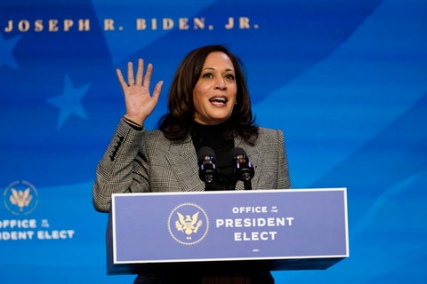 Democratic vice presidential candidate Sen. Kamala Harris, D-Calif., speaks during the third day of the Democratic National Convention, Wednesday, Aug. 19, 2020. (AP Photo/Carolyn Kaster)