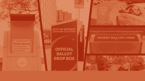 Michigan voters who choose to drop off their absentee ballots must use a box in their registered jurisdiction. (Graphic by COURIER/Denzel Boyd; Photos by Franz Knight.)