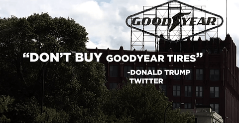 President Trump called for a boycott of Goodyear Tires on Wednesday.