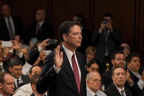 James Comey testifying before the US Senate Intelligence Committee in June 2017. Comey addressed a convention of Trump critics anchored in Charlotte Monday. (Image via Shutterstock)