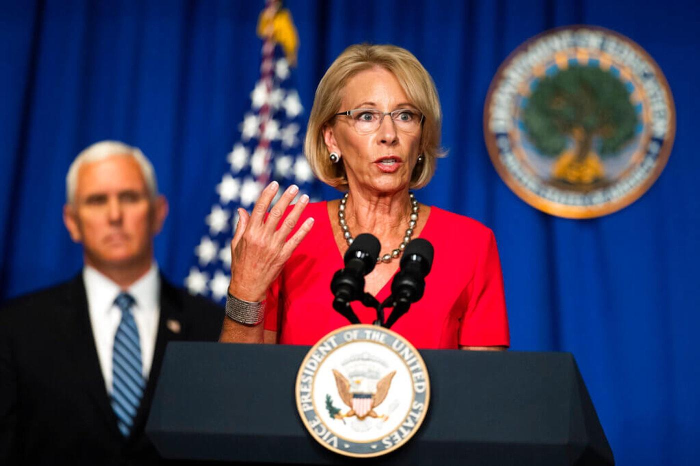 Education Secretary Betsy DeVos, with Vice President Mike Pence. (AP Photo/Manuel Balce Ceneta)