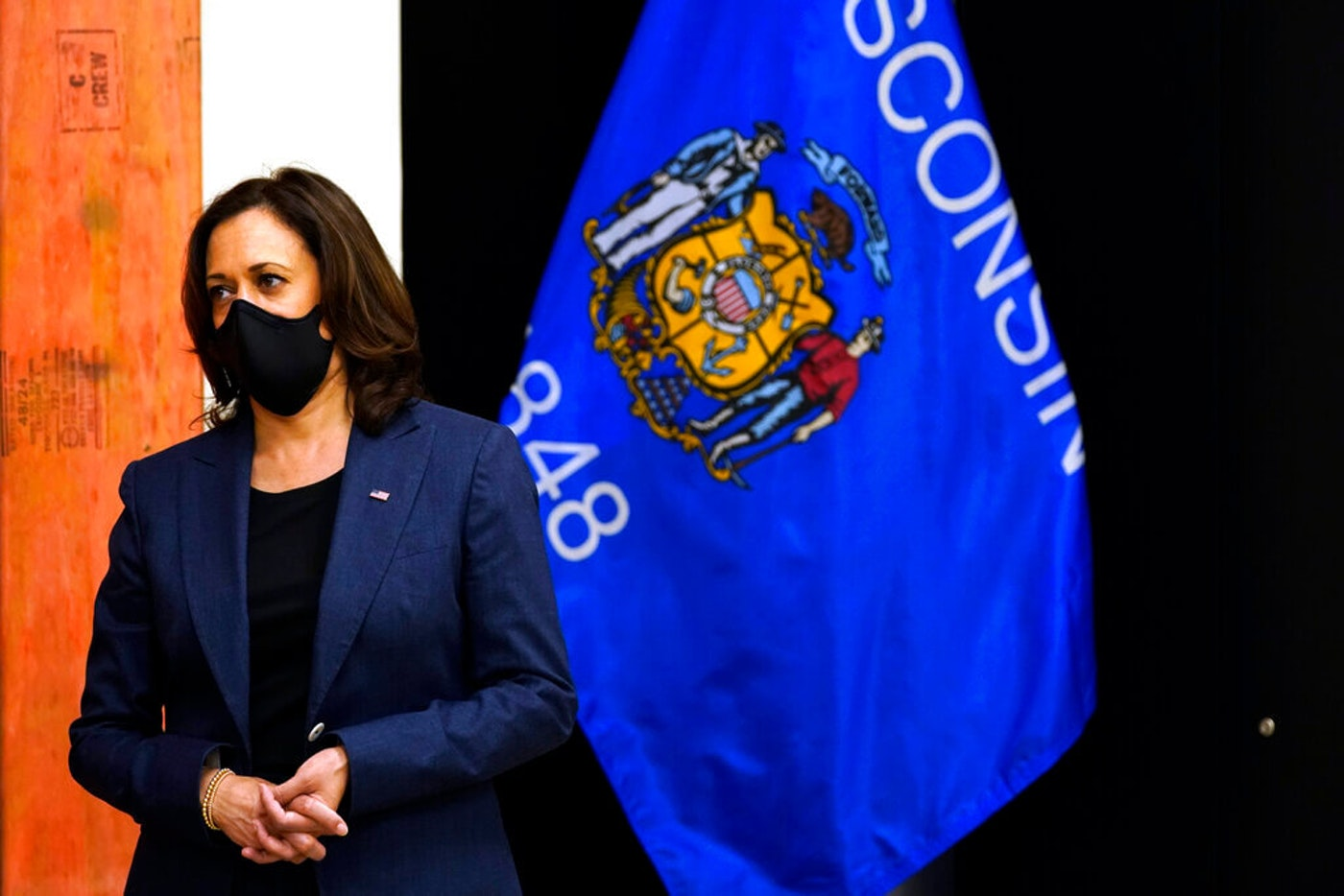 Democratic vice presidential candidate Sen. Kamala Harris, D-Calif., talks about her meeting with the family of Jacob Blake during a tour of the IBEW 494 training facility Monday, Sept. 7, 2020, in Milwaukee. (AP Photo/Morry Gash)