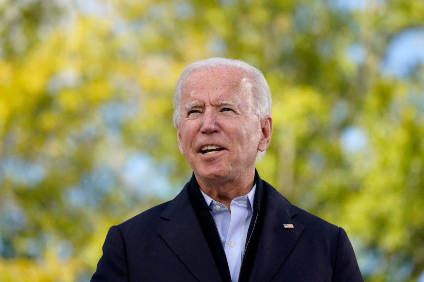 Democratic presidential candidate former Vice President Joe Biden speaks during a roundtable discussion with veterans, Tuesday, Sept. 15, 2020, at Hillsborough Community College in Tampa, Fla. (AP Photo/Patrick Semansky)