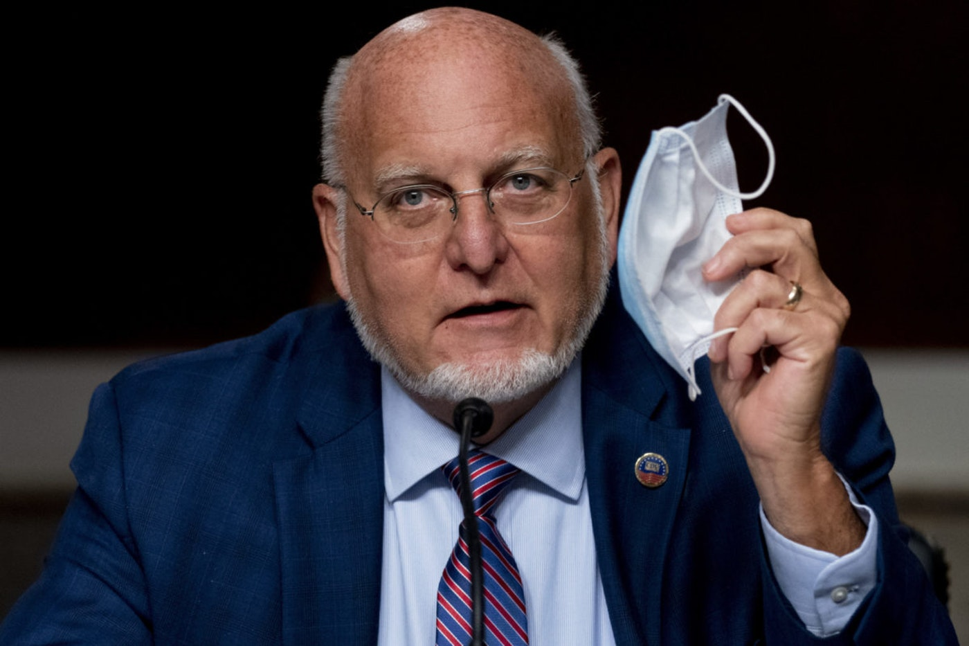 Centers for Disease Control and Prevention Director Dr. Robert Redfield testifies before the Senate on the same day that former Vice President Joe Biden delivered remarks on a coronavirus vaccine plan (AP Photo/Andrew Harnik, Pool).