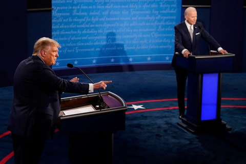 U.S. President Donald Trump speaks during the first presidential debate against former Vice President and Democratic presidential nominee Joe Biden at the Health Education Campus of Case Western Reserve University on September 29, 2020 in Cleveland, Ohio. This is the first of three planned debates between the two candidates in the lead up to the election on November 3. (Photo by Morry Gash-Pool/Getty Images)