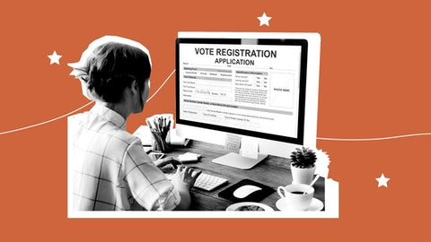 In many states, you can register to vote online (Shutterstock/COURIER Graphic by Denzel Boyd).