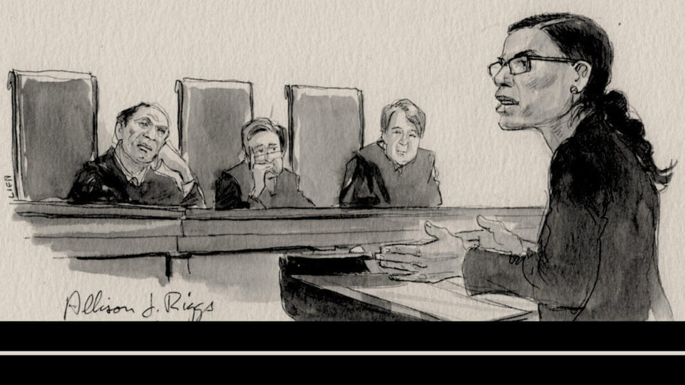 A rendering of attorney Allison Riggs' argument during League of Women Voters v. Rucho in 2019. (Art by Art Lien)