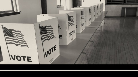 Voting stations at the Eagle Point town hall in Chippewa County (Graphic by COURIER/Denzel Boyd; Photo by Pat Kreitlow)