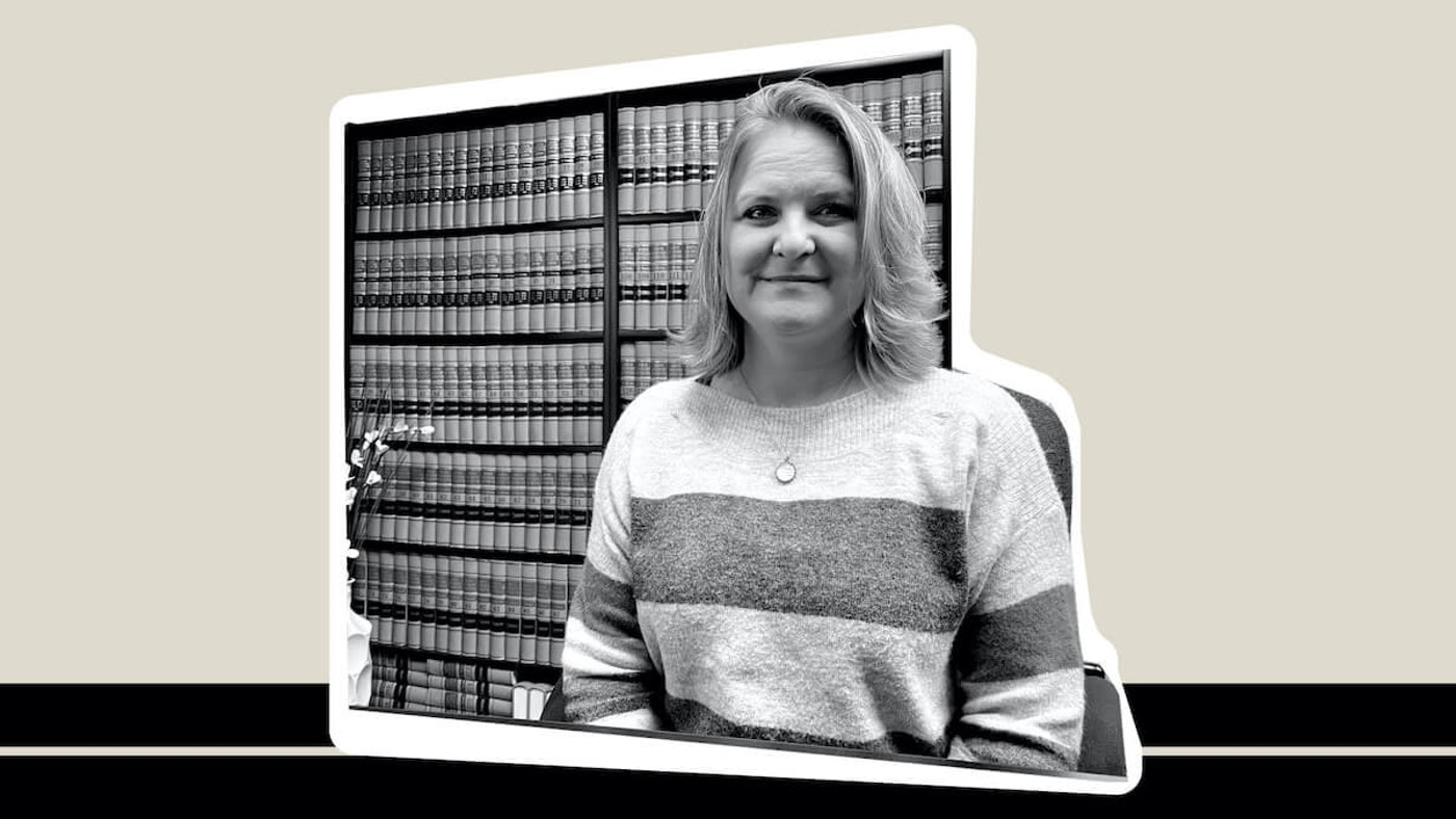 Wendy Sue Johnson, an Eau Claire-based attorney, was one of 12 plaintiffs in a landmark case challenging gerrymandered political districts in Wisconsin that made its way to the US Supreme Court. (Graphic by COURIER/ Denzel Boyd; UpNorthNews Photo/Julian Emerson)