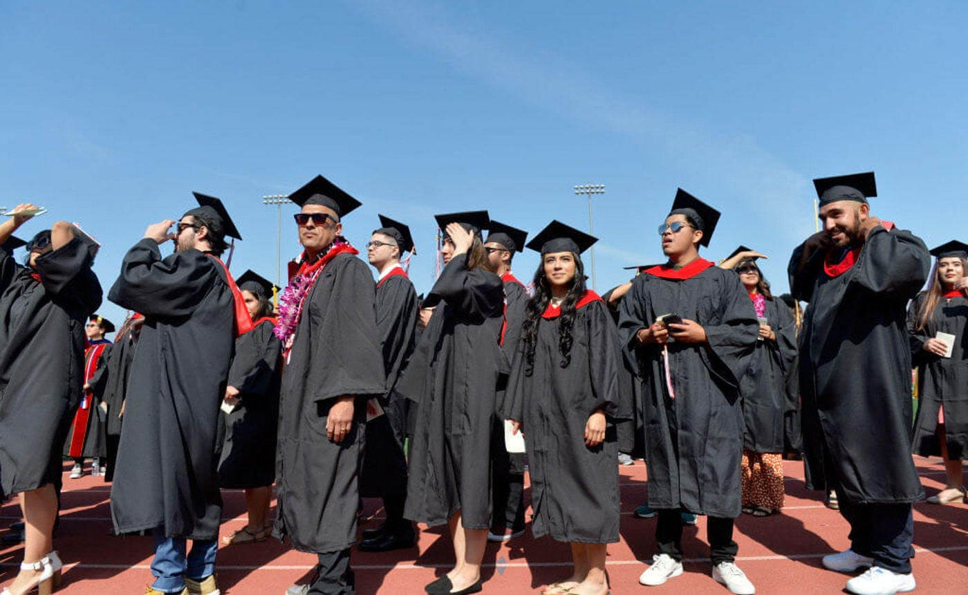 Long Beach City College graduates enter Veterans Memorial Stadium for their commencement ceremony in Long Beach on Thursday, June 6, 2019. (Photo by Brittany Murray/MediaNews Group/Long Beach Press-Telegram via Getty Images)