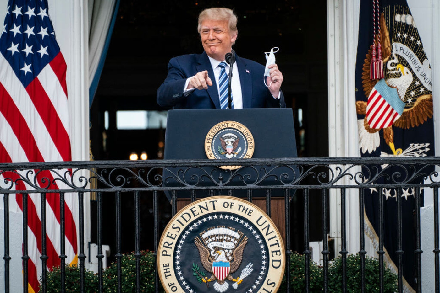 President Donald J. Trump remains at the White House after testing positive for covid-19. (Photo by Jabin Botsford/The Washington Post via Getty Images)
