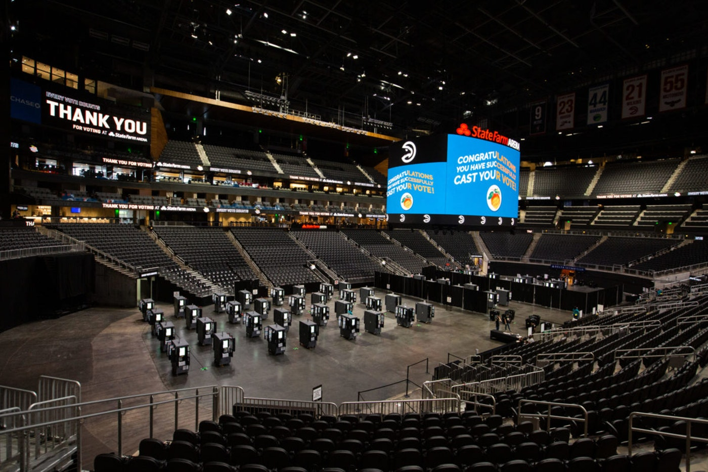 State Farm Arena, in Atlanta, Ga., is just one of dozens of major sports venues across the country that have become large early voting centers. (Photo by Jessica McGowan/Getty Images)