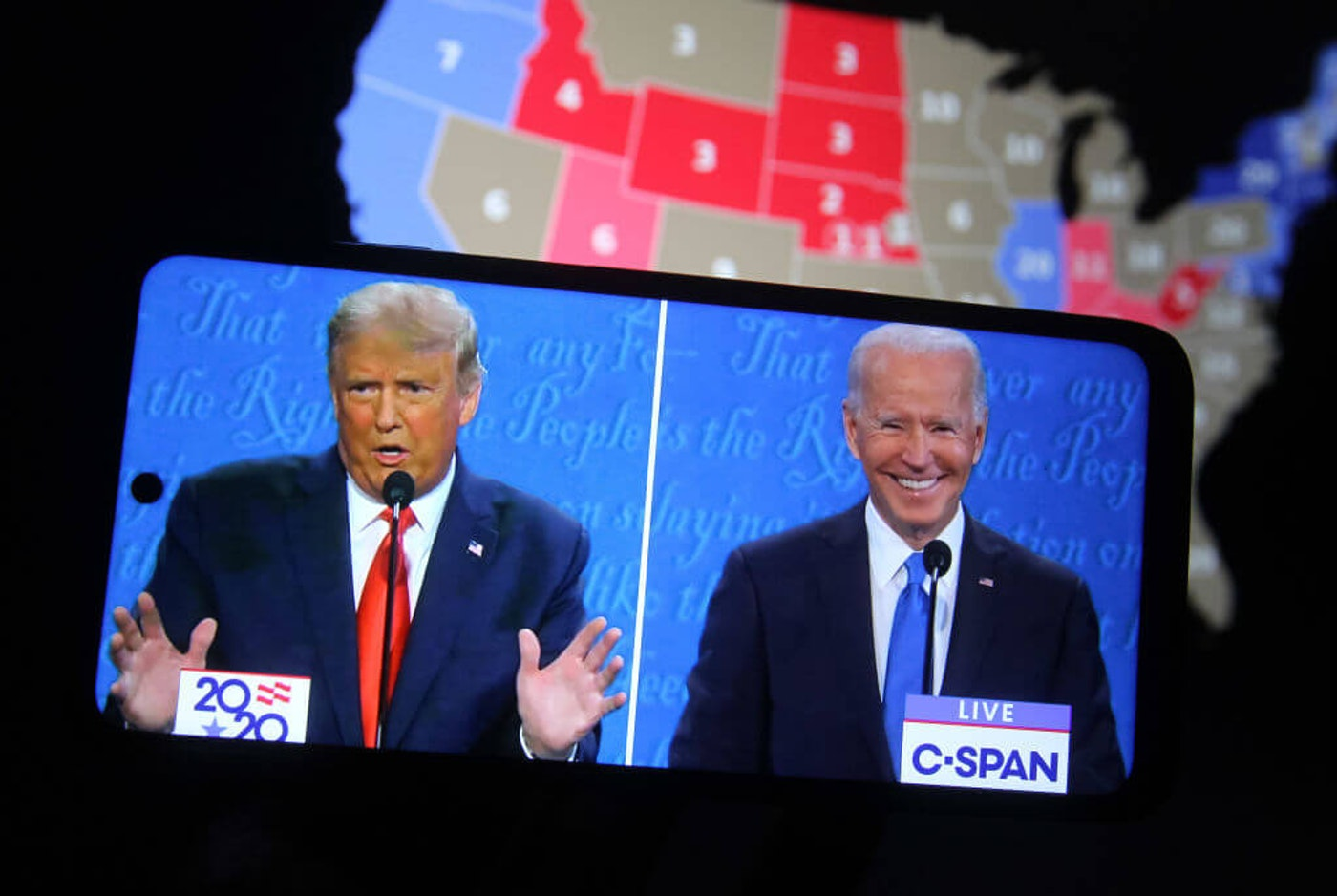The final presidential debate between President Donald Trump and former Vice President Joe Biden took place at Belmont University in Nashville, the U.S. on Thursday, October 22. United States presidential election scheduled for November 3, 2020. (Photo Illustration by Pavlo Conchar/SOPA Images/LightRocket via Getty Images)