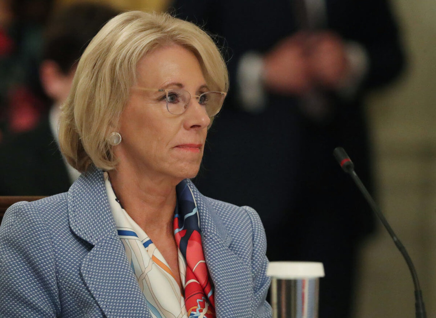 WASHINGTON, DC - JULY 07: Education Secretary Betsy DeVos participates in an event hosted by U.S. President Donald Trump with students, teachers and administrators about how to safely re-open schools during the novel coronavirus pandemic in the East Room at the White House July 07, 2020 in Washington, DC. As the number of COVID-19 cases surge across southern states like Florida, Texas, Louisiana, South Carolina and Arizona, Trump joined with guests from across the country to discuss how to responsibly return to the classroom. (Photo by Chip Somodevilla/Getty Images)
