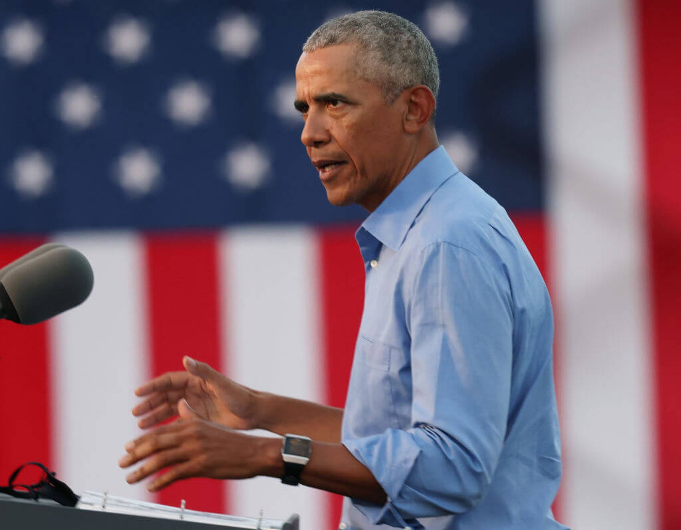 Former U.S. President Barack Obama speaks during a drive-in rally while campaigning for Democratic nominee Joseph Biden, on October 21, 2020 in Philadelphia, Pennsylvania. Biden is polling ahead of President Donald Trump in this battleground state that Trump narrowly won in 2016. (Photo by Michael M. Santiago/Getty Images)