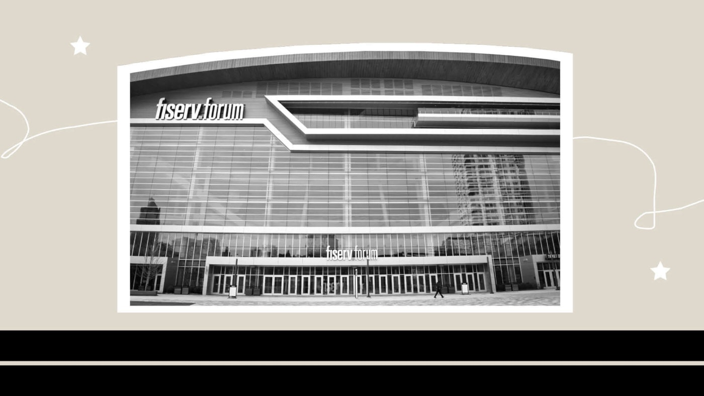 Fiserv Forum in Milwaukee (Photo by Jonathon Sadowski; Graphic by Denzel Boyd/COURIER)