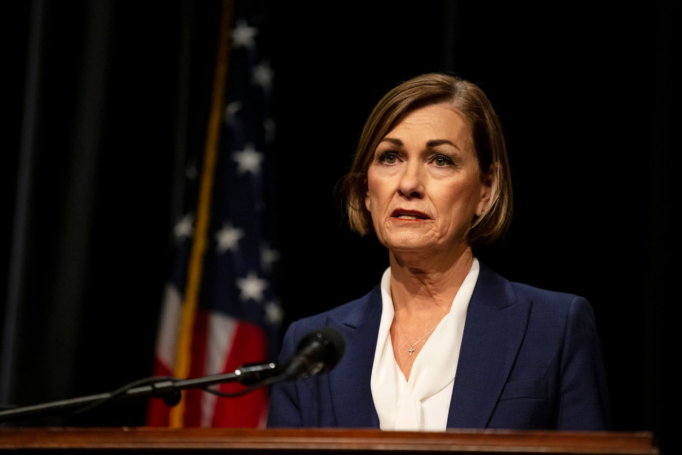 Iowa Gov. Kim Reynolds gives a primetime televised address announcing new efforts to combat COVID-19 in the state, on Monday, Nov. 16, 2020, at Iowa PBS, in Johnston, Iowa. (Kelsey Kremer/The Des Moines Register via AP)