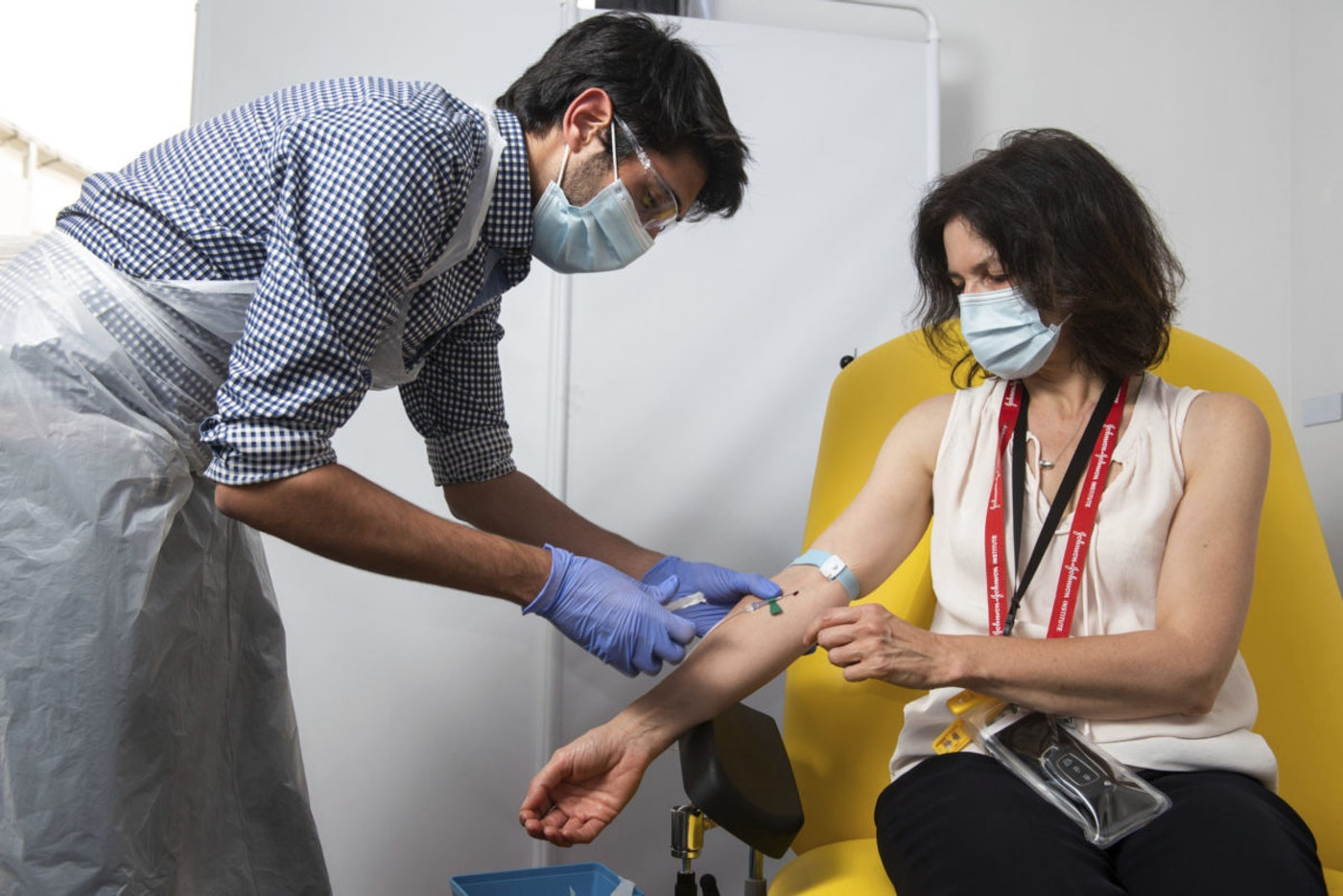 Patient receives coronavirus vaccine candidate during a clinical trial