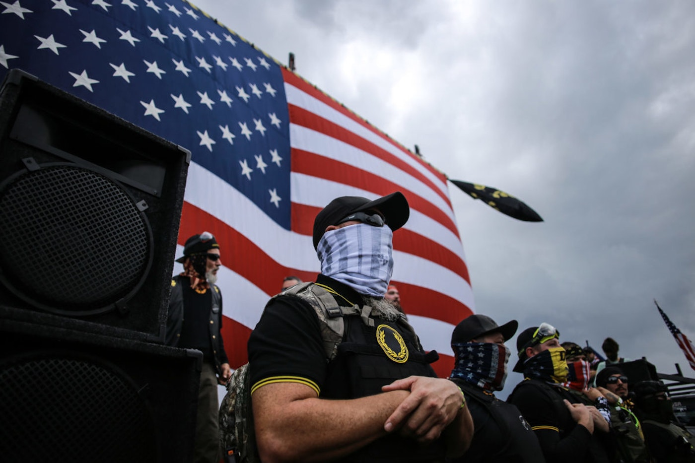 A Proud Boys rally in Portland, Oregon. Photo by Stanton Sharpe/SOPA Images/LightRocket via Getty Images