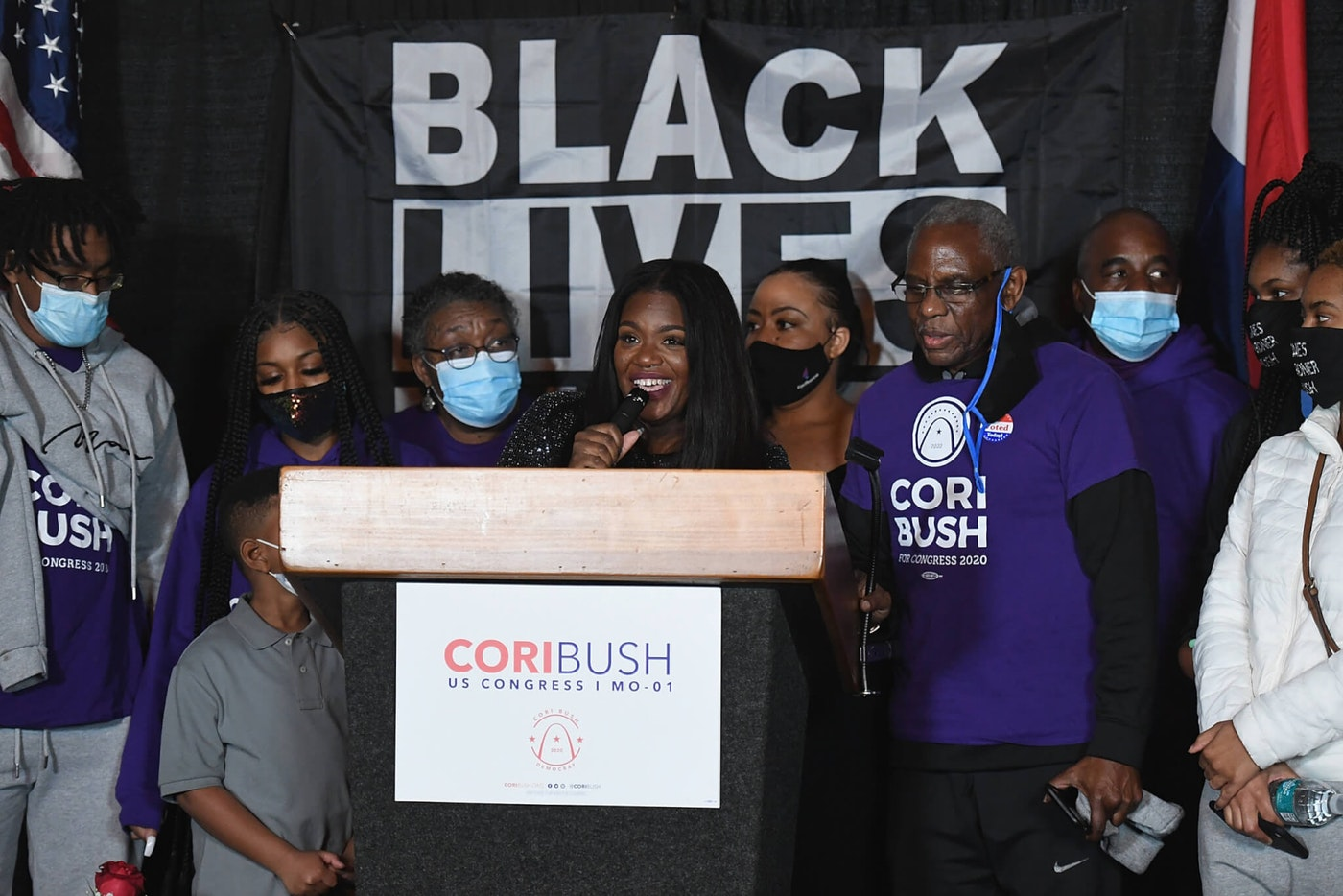 Congresswoman-elect Cori Bush speaks during her election-night watch party on November 3, 2020 at campaign headquarters in St. Louis, Missouri. (Photo by Michael B. Thomas/Getty Images)