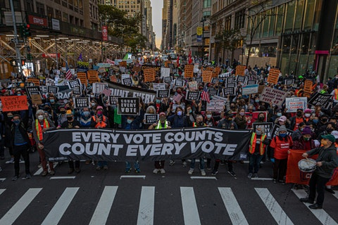 With the Presidential election still not decided, hundreds of protesters in NYC took to the streets to denounce Donald Trumps attempt to stop the counting of votes in battleground states. (Photo by Michael Nigro/Pacific Press/LightRocket via Getty Images)