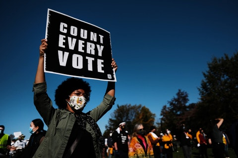 People participate in a protest in support of counting all votes as the election in Pennsylvania is still unresolved on November 04, 2020 in Philadelphia, Pennsylvania. (Photo by Spencer Platt/Getty Images)
