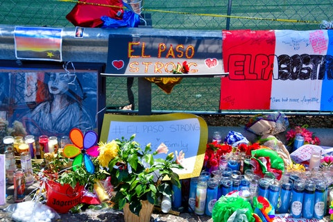 A memorial in El Paso, Texas, after a white shooter targeted Latino shoppers at Walmart. Image via Shutterstock