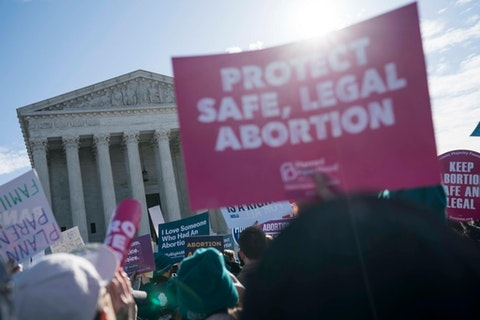 An abortion rights rally outside of the Supreme Court in March 2020 in Washington, DC. (Photo by Sarah Silbiger/Getty Images)