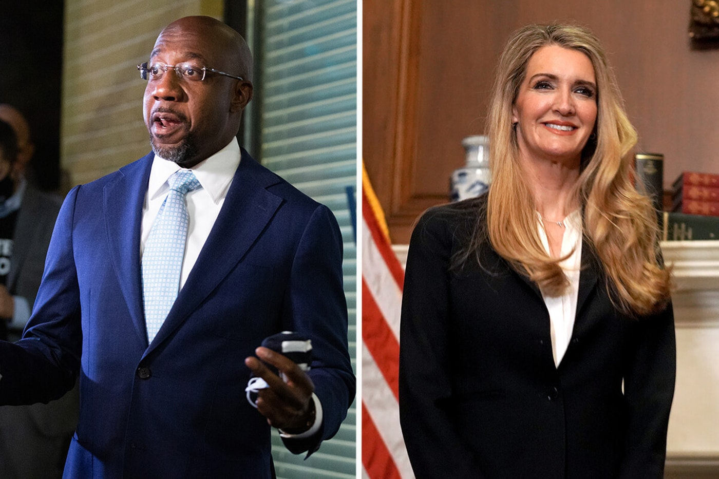 Raphael Warnock and Kelly Loeffler head to runoff in January (Photos by Getty Images)