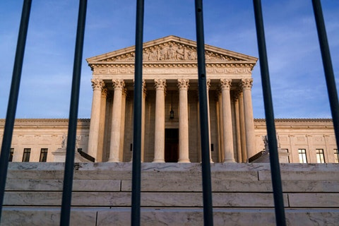 the Supreme Court in Washington, DC, where the Trump administration plead to require in person visits for the abortion pill