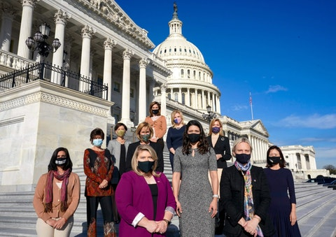 Incoming GOP congresswomen pose for a portrait outside the U.S. Capitol in Washington, District of Columbia, on December 3, 2020. From left, front line (six women):  Nicole Malliotakis, Yvette Herrell,  Kat Cammack, Stephanie Bice, Victoria Spartz and Michelle Park Steel. Rear row: Young Kim, Claudia Tenny, Maria Elvira Salazar, Ashley Hinson and Beth Van Duyne. (Photo by Bonnie Jo Mount/The Washington Post via Getty Images)