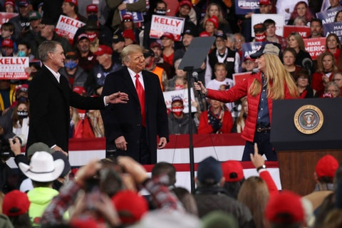 President Donald Trump attends a rally in support of Sen. David Perdue (R-GA) and Sen. Kelly Loeffler (R-GA) on December 05, 2020 in Valdosta, Georgia. (Photo by Spencer Platt/Getty Images)
